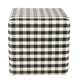 HomePop Small Square Ottoman - Mini Black Plaid