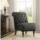 Charcoal Cora Roll Back Tufted Chair