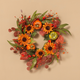 Fall 24-Inch Harvest Wreath with Pumpkin and Berry Accents