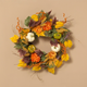 Fall 26-Inch Harvest Wreath with Pumpkin and Berry Accents
