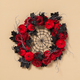 Halloween 24-Inch Halloween Spiderweb Wreath with Roses and Pumpkins