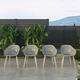 Amazonia Teak Finish Grey Arm Chair (Set of 4)