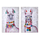 Ideal Llama Party Oil Painting (Set of 2)