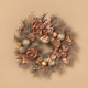 Christmas 24-Inch Frosted Wreath with Ornaments and Berries