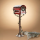 Christmas Wooden Holiday Mailbox with Pine Garland for Santa