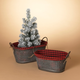 Christmas Nesting Metal Holiday Baskets with Fabric Liner (Set of 2)