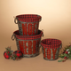 Christmas Nesting Metal Holiday Baskets with Fabric Liner (Set of 3)