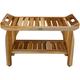 EcoDecors  Tranquility Teak Wood Shower Bench with Shelf