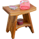 EcoDecors  Serenity Teak Wood Shower Bench with Shelf