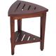DecoTeak Oasis Teak Wood Corner Shower Bench with Shelf