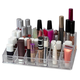 Home Accents 24 Compartment Transparent Plastic Cosmetic Makeup and Nail Polish Storage Organizer Holder
