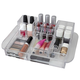 Home Accents Deluxe 16 Compartment Transparent Plastic Cosmetic Makeup and Jewelry Storage Organizer