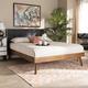 Baxton Studio Alke Mid-Century Upholstered Wood Queen Platform Bed