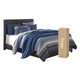 """Monaka Queen Upholstered Bed with 10"""" Memory Foam Mattress in a Box"""