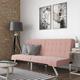 Dorel Atwater Living Elvia Pink Velvet Futon