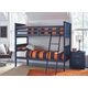 Leo Twin Bunk Bed with Nightstand Mattress and Pillow