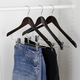 Contemporary Non-Slip Wooden Hangers with Metal Clips (Set of 3)