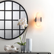Jamie Young Round Metal Grid Mirror with Paned Beveled Glass