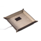 Bey-Berk Leather Valet Tray with Wireless Charger