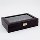 Bey-Berk Leather 10 Watch Case with Glass Top and Locking Clasp