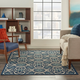 Nourison Caribbean Navy Blue And White 5'x8' Area Rug