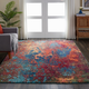 Nourison Celestial Blue And Red 7'x10' Large Rug