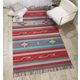 Nourison Baja Gray and Red 5'x7' Southwestern Area Rug