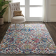 Nourison Ankara Global Blue and Ivory 5'x8' French Country Area Rug