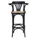 Euro Style Adna Bar Stool in Black with Cane Seat in Natural