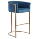 Euro Style Marrisa Bar Stool in Blue Fabric with Light Brass Base