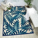 Nourison Aloha Navy Blue and White 8'x11' Oversized Indoor-outdoor Rug