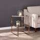 Baymer Mirrored Side Table with Faux Stone Glass