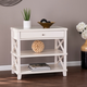 Camm Glass-Top Accent Table - White