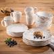 American Atelier Bianca Holly White Stoneware 16-Piece Dinnerware Set