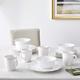 American Atelier White Bianca Scallop Flute Ceramic 16-Piece Dinnerware Set