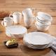American Atelier White Bianca Scallop Bead Ceramic 16-Piece Dinnerware Set