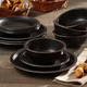 Elle Décor Metallic Black 12-Piece Dinner Set