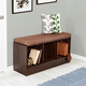 Honey-Can-Do Entryway Bench with Storage Shelves, Deep Espresso
