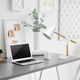Home Accents Simple Designs White Matte and Wooden Pivot Desk Lamp