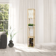 Home Accents Simple Designs Etagere Floor Lamp Orgnzr Shelf & Wine Rack, TAN