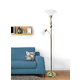 Home Accents Elegant Designs GLD 2 Light Mother Daughter Floor Lamp w WHT Glass