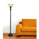Home Accents Elegant Designs 1Light RBZ Torchiere Floor Lamp w AMB Gls Shade