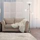 Home Accents Elegant Designs 3Light BSN Floor Lamp w Scalloped WHT Gls Shade