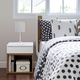 Home Accents LimeLights White Stick Lamp w Charging Outlet & GRY Fabric Shde
