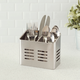 Home Accents Dual Compartment Stainless Steel Cutlery Holder