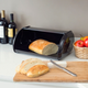 Home Accents Roll Up Lid Steel Bread Box, Black
