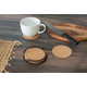 Home Accents Natural Cork 6 Piece Coaster Set with Scroll Collection Steel Holder