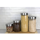Home Accents 4 Piece Glass Canister Set with Stainless Steel Lids