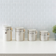 Home Accents 4 Piece Ceramic Canisters with Easy Open Air-Tight Clamp Top Lid and Wooden Spoons, Beige