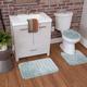Mohawk Veranda Bath Rug Aqua Set (Set Contains: 20x30, 20x20 Contour and Toilet Lid Cover)